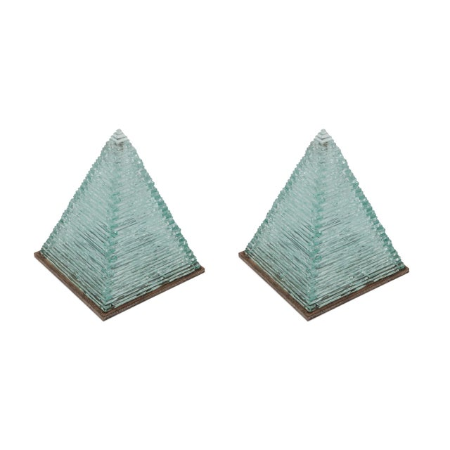 Pia Manu pair of pyramid shaped lamps in glass. Also available separately. One-off lighting pieces created by Jules...