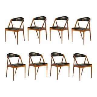 1960s Vintage Kai Kristiansen Teak Dining Chairs - Set of 8 For Sale