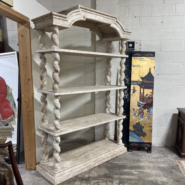 Traditional Belgian Bleached Oak Barley Twist Bookcase Shelf For Sale - Image 3 of 13