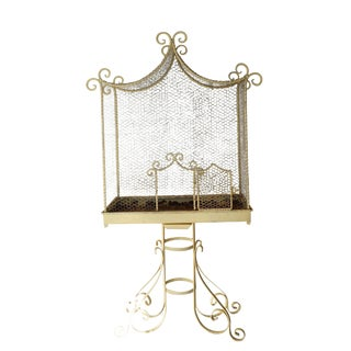 Large Creamy White Metal Bird Cage For Sale