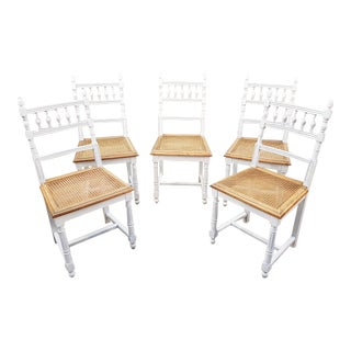 French Shabby Chic Antique White Washed Summer Country Cane Seat Dining Chairs - Set of 5 For Sale