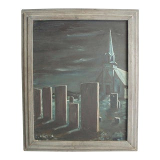 "Oil on Board Halloween feature ""Midnight in the Church Cemetery"" For Sale"