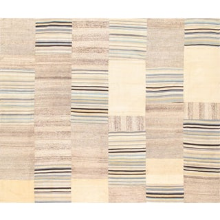 Vintage Patchwork Lamb Wool Area Rug - 7' X 8' For Sale