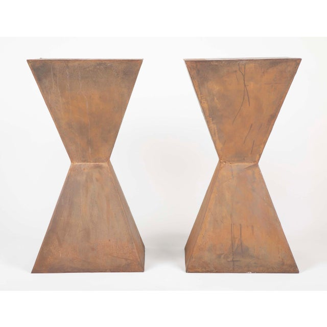 Brancusi Style Steel Side Tables - A Pair For Sale - Image 10 of 13