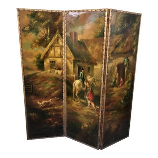 1970s Vintage Painted Screen Room Divider For Sale
