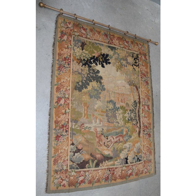 Fine Antique European Tapestry Depicting A Country Scene with Dogs This is a large 19th century tapestry. The background...