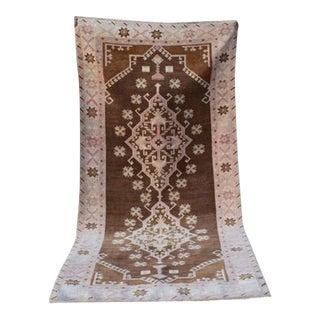 Wide Caucasian Pattern Vintage Handmade Peerless Turkish Hallway Rug Runner, Muted Warm Colour Wool Entryway Rugs 4'6'' X 9'8'' / 137x295cm For Sale