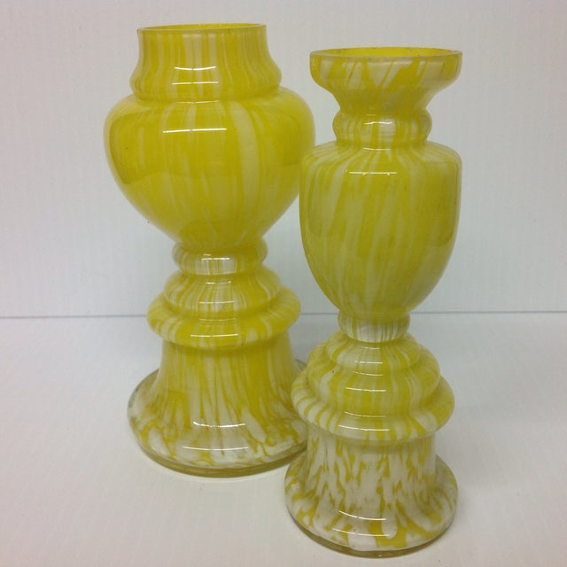 Mid-Century Modern Vintage Czech Yellow Art Glass Vases - a Pair For Sale - Image 3 of 5