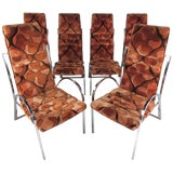Image of Set of Six Mid-Century Chrome and Upholstered High Back Dining Chairs For Sale