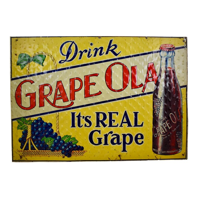 Quilted Tin Advertising Sign, Early 20th-C. Grape Ola Soda For Sale