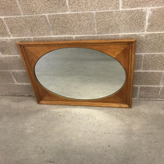 Large 43 X 31 Vintage Framed Oval Inset Wall Mirror Wood Preview