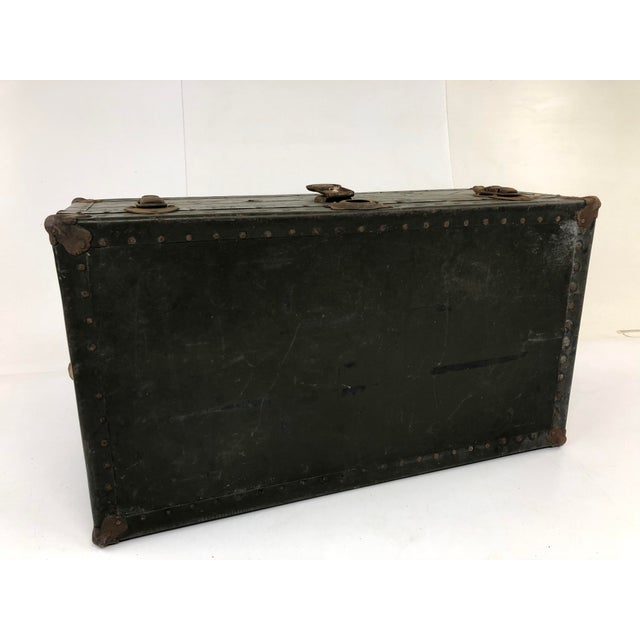 Green Vintage Industrial Green Wood Military Foot Locker Trunk W Tray For Sale - Image 8 of 13