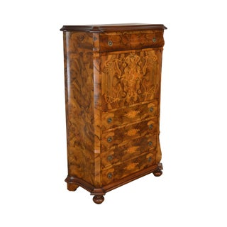 Exquisite Italian Marquetry Inlaid Abattand Secretary Desk For Sale