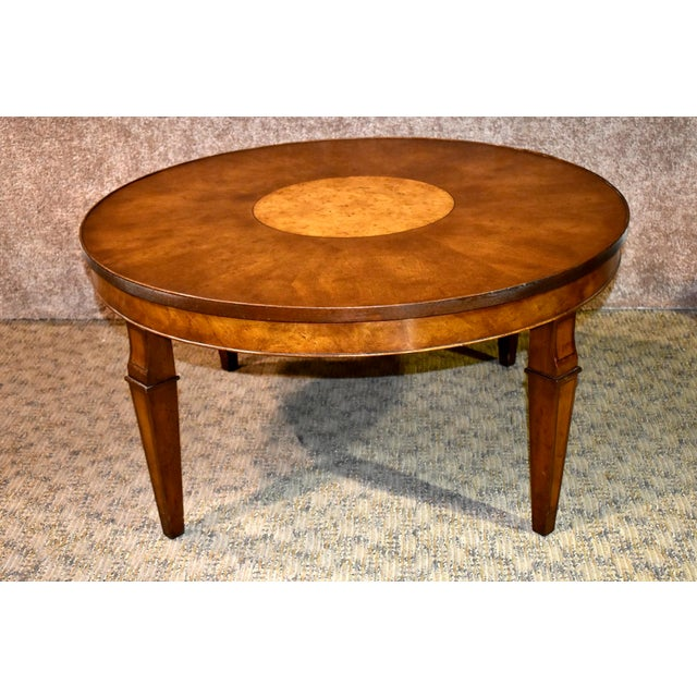 Vintage Old Colony Regency Style Inlaid Lazy Susan Cocktail Table For Sale - Image 13 of 13