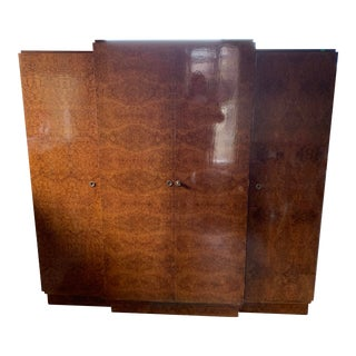 1930s Art Deco Burlwood Armoire For Sale