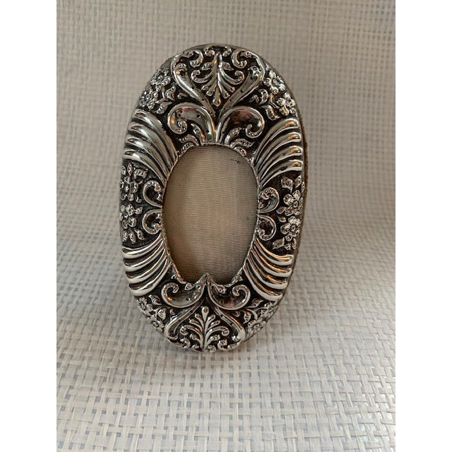 Metal 1900's Art Nouveau Oval Sterling Frame For Sale - Image 7 of 7