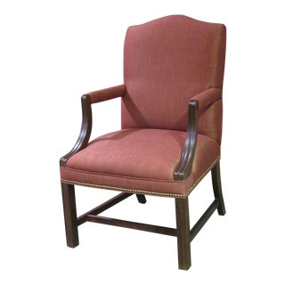 Vintage Chippendale Style Accent Arm Chair W/Nail Head Trim & Stretcher Base For Sale