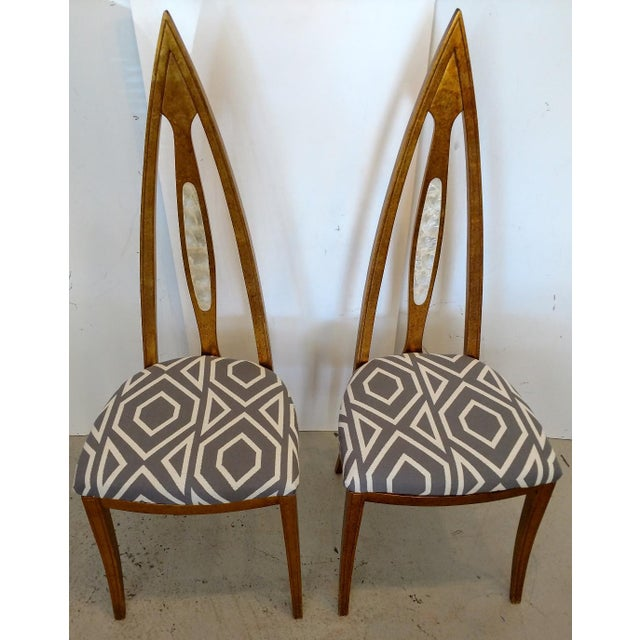 1960's Cathedral Arch-Backed Side Chairs, Gold-Leafed/ Shell Inlaid, a Pair For Sale - Image 12 of 12