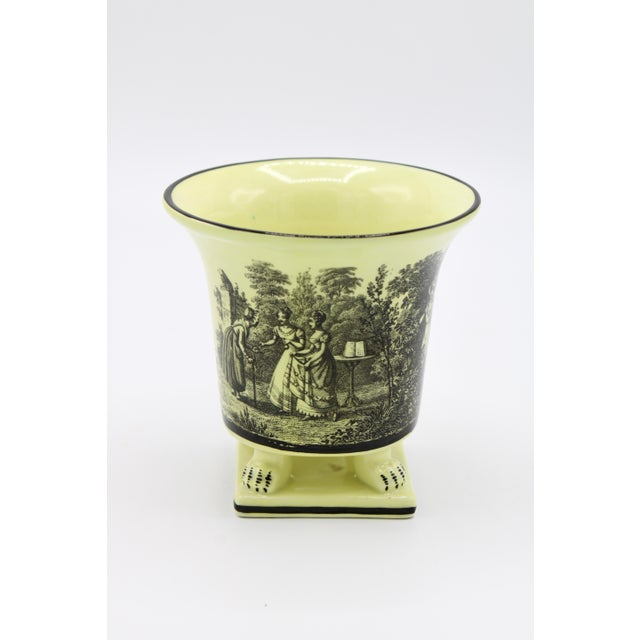Mottahedeh Italian Mottahedeh Canary Yellow Ceramic Cachepot Vessel For Sale - Image 4 of 12