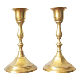 Vintage Indian Brass Candle Holders - a Pair