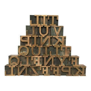 Vintage Brass Letterpress Printing Blocks - Set of 28