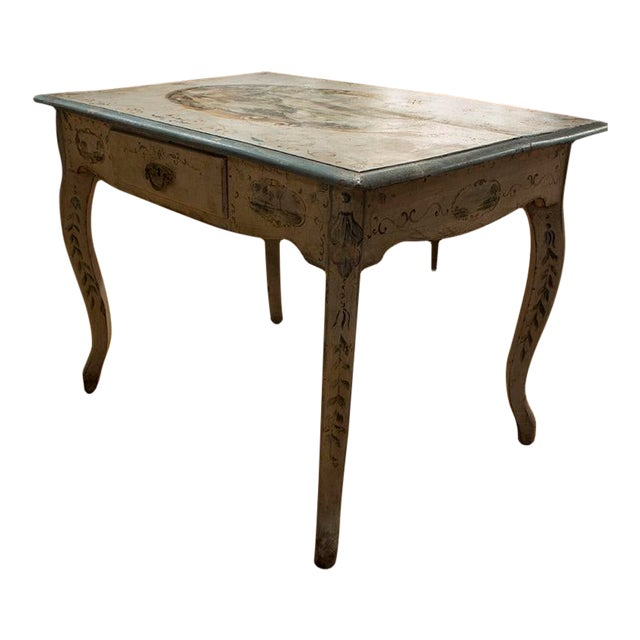 1890s Italian Hand Painted Side Table With One Drawer For Sale