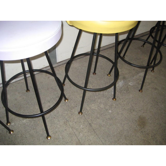 Vintage Mid Century Atomic Bar Stools - Set of 6 - Image 8 of 11