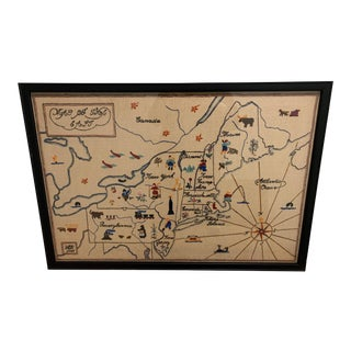 1935 Large Framed Crewelwork Map of the Northeast For Sale