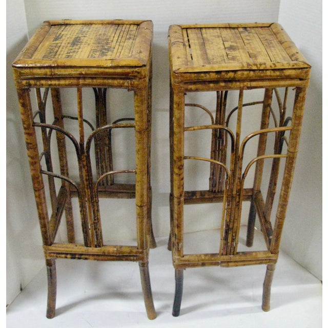 Bamboo Plant On Table: Vintage Burnt Bamboo Martini/ Plant Stand Tables