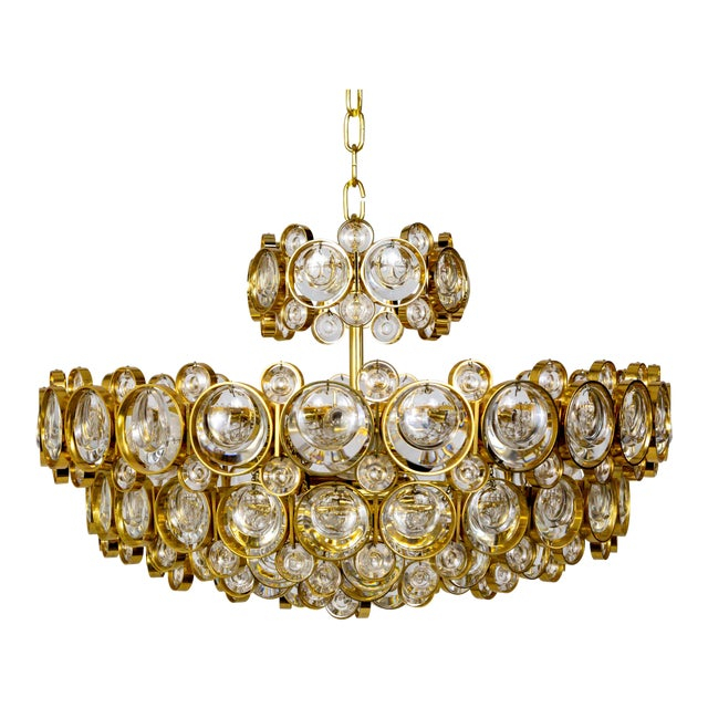 Circular Gilt Brass & Optical Lens Crystal Multi Tier Chandelier by Palwa For Sale