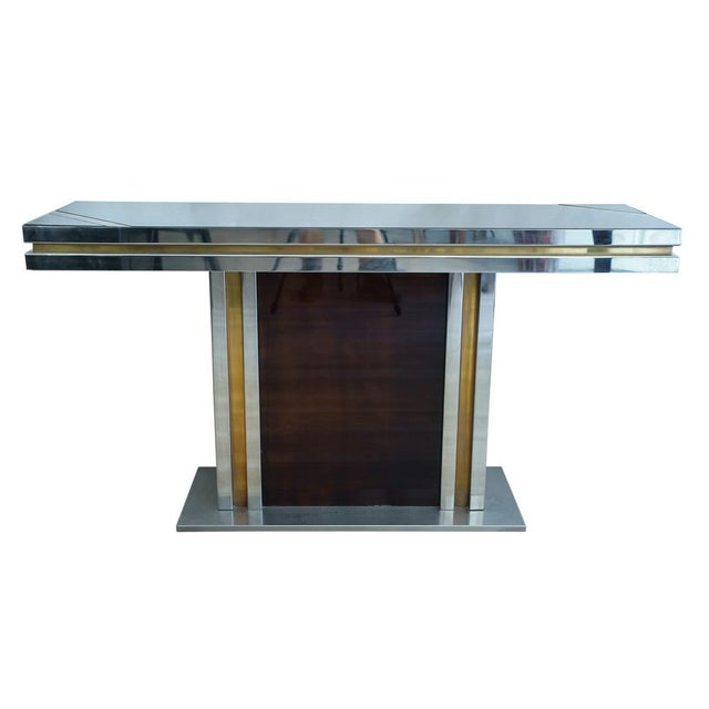 Brass Romeo Rega Glass Top Console For Sale - Image 7 of 7