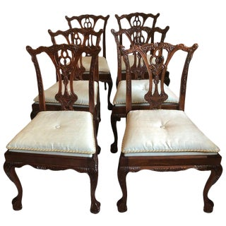 1990s Vintage Chippendale Style Dining Chairs- Set of 6 For Sale