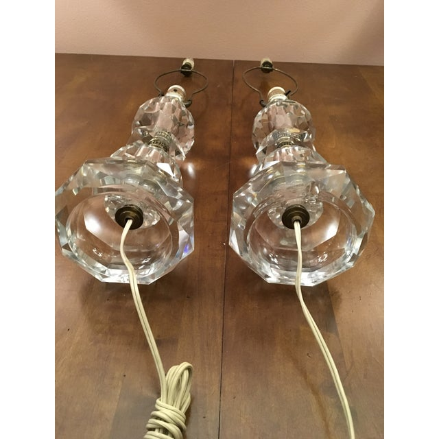Mid-Century Modern Vintage Crystal Table Lamps- A Pair For Sale - Image 12 of 13
