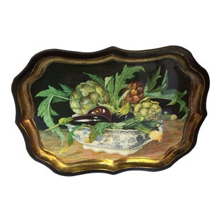 Vintage English Galley Painting on Scalloped Edge Serving Tray -Made in England For Sale