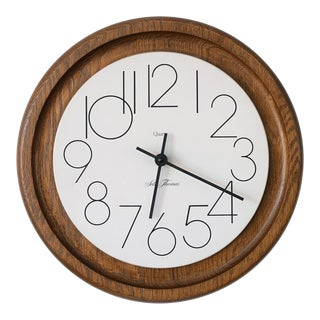 Mid Century Vintage Seth Thomas Danish Wood & Metal Round Clock For Sale