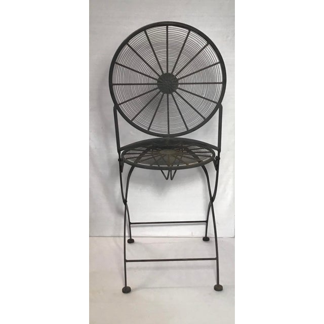 1960s Vintage Wrought Iron Pinwheel Bistro Style Folding Chair- Set of 4 For Sale - Image 9 of 13