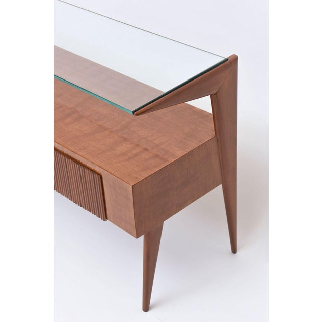 Italian Modern Walnut and Glass Top Two-Tiered Low Table, Paulo Buffa Attributed For Sale - Image 4 of 11