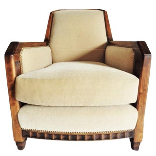 Superb Art Deco Club Chair W Tan Mohair by Charles Pollock for William Switzer For Sale