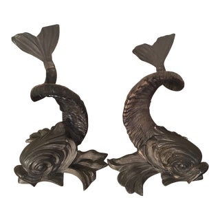 1970s Mid-Century Modern Gabriella Crespi Silver and Horn Dolphins - a Pair For Sale
