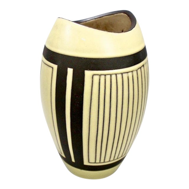 Mid-Century European Yellow & Brown Ceramic Vase For Sale