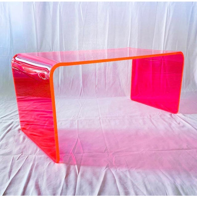 """""""The Long Game"""" Coffee Table in Neon Pink For Sale - Image 9 of 9"""