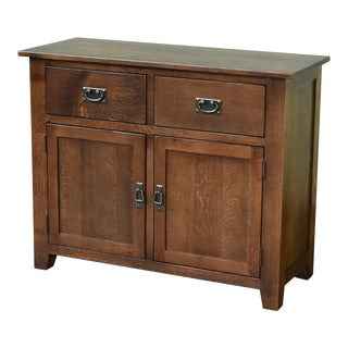 Crafters and Weavers Mission 2 Door 2 Drawer Cabinet - Walnut For Sale