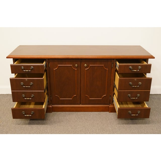 Late 20th Century 20th Century Traditional Miller Desk Solid Cherry Executive Office Credenza For Sale - Image 5 of 13