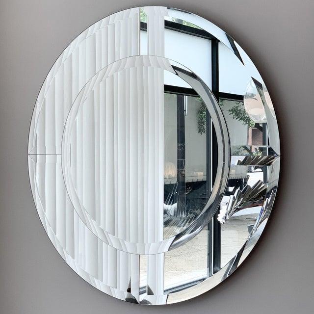 Hollywood Regency Karl Springer Large Saturn Wall Mirror For Sale - Image 3 of 10
