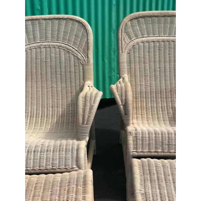 Beige Vintage Coastal Wicker Sling Back Chairs and Ottomans-A Pair For Sale - Image 8 of 13