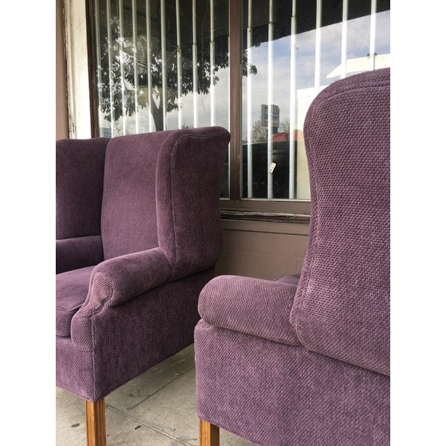Textile 1970s Vintage Wingback Chairs- A Pair For Sale - Image 7 of 10
