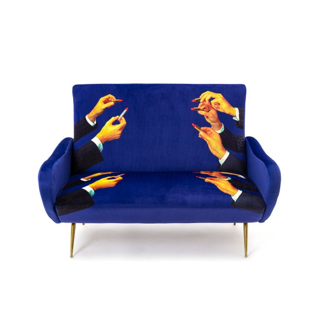 Not Yet Made - Made To Order Seletti, Lipsticks Loveseat, Blue, Toiletpaper, 2018 For Sale - Image 5 of 5