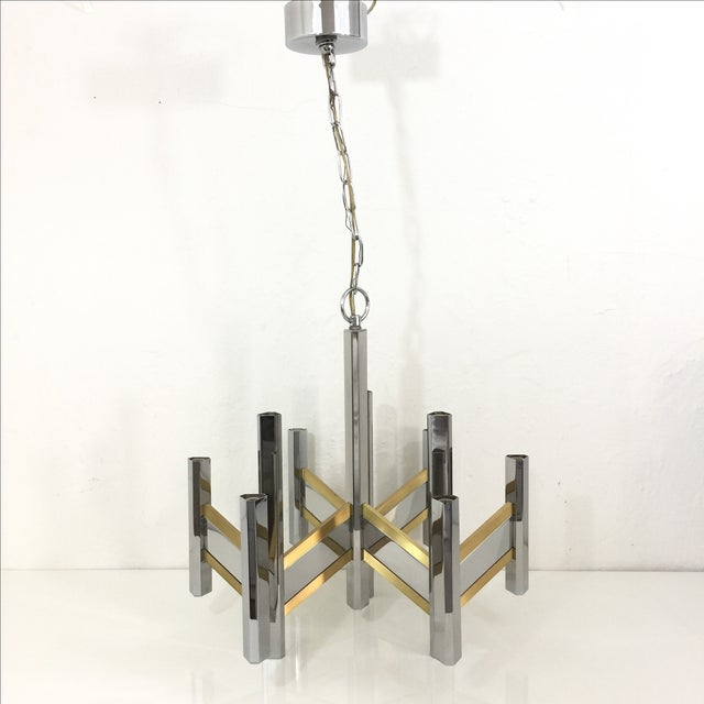 Sciolari Brass and Chrome 12 Bulb Chandelier - Image 3 of 10