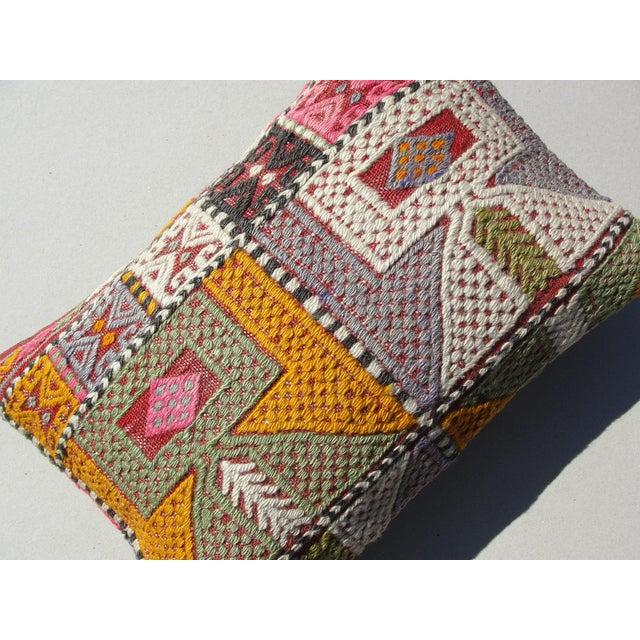 Yellow Kilim Rug Pillow For Sale - Image 8 of 11