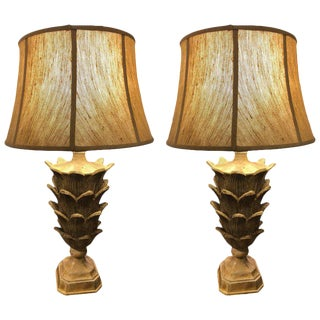 Palm Tree Form Carved Wooden Table Lamps - A Pair For Sale